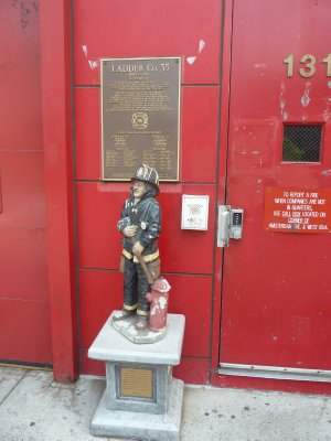 Firemen's Memorial outside the Lincoln Center FDNY Building (home of Engine 40 and Ladder 35)