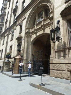 The south entrance to the Dakota Apartment Building where John Lennon was shot