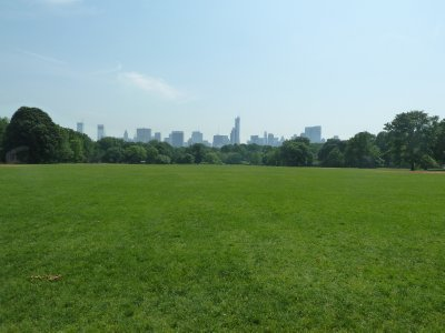 Looking south across the Great Lawn - the quintessential view of the New York Skyline from Central Park