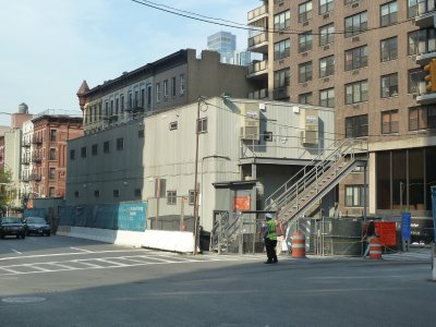 The Second Avenue Subway above surface Site Office and Changing Rooms on 2nd Avenue at 87th Street