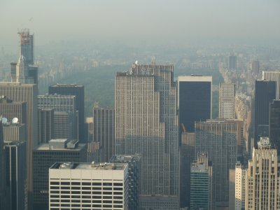 Close up of Central Park and the 'Top of the Rocks' (GE Building) from the 86th floor