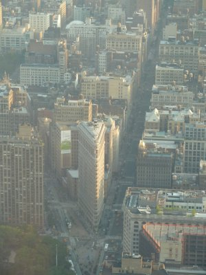 Close up southwards of the Flat Iron Building at the juncture of Broadway and 5th Avenue from the 102nd Floor