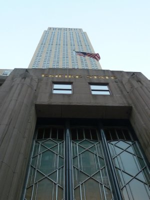 The view up the Empire State Building from ground level