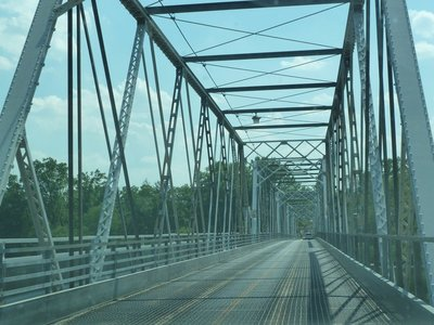 Crossing the steel truss bridge (built in 1904) over the Delaware River at Washington Crossing