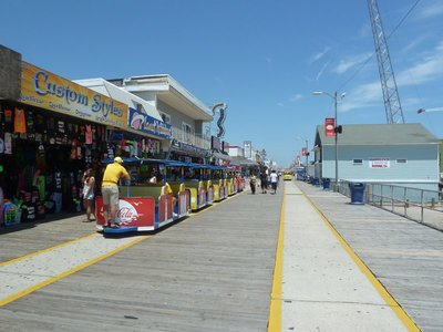 Trams running along the Wildwood Boardwalk