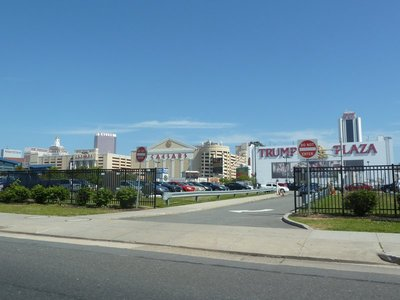 Casinos clustered next to each other as we approach downtown Atlantic City