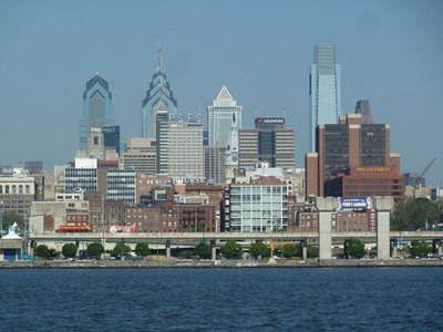 Close up of the Philadelphia skyline from the USS New Jersey across the Delaware River at Camden