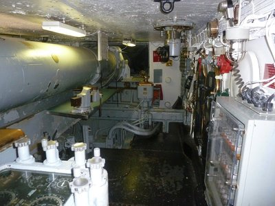 Inside one of the forward gun turrets aboard the USS New Jersey