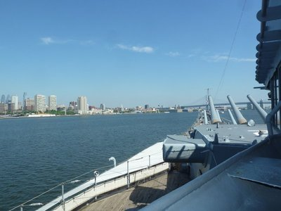Philadelphia and the Ben Franklin Bridge as seen from the USS New Jersey moored at Camden