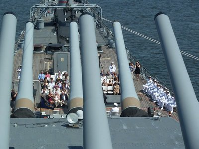 A Retirement Ceremony underway on the forward deck of the USS New Jersey