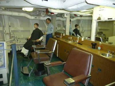Time for a haircut? - Barber Shop aboard the USS New Jersey