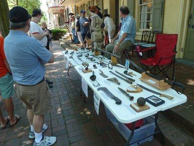 Revolutionary War artifacts on display outside the Indian King Tavern in Haddonfield