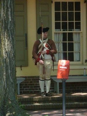 American Minuteman on guard duty outside the Indian King Tavern in Haddonfield