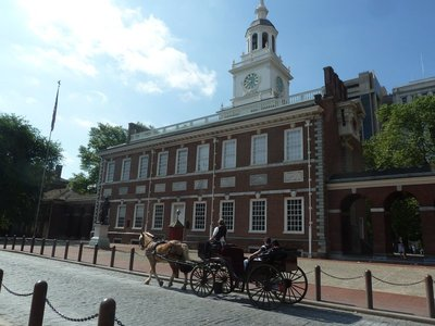 Horse and Carriage passing the front of Independence Hall