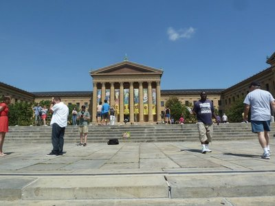 The grand stairway leading up to the Philadelphia Museum of Art