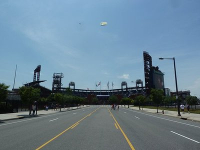 Citizen Bank Park - home of the Philadelphia Phillies - with an advertising plane flying overhead