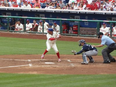 A batter for the Phillies prepares to hit the ball