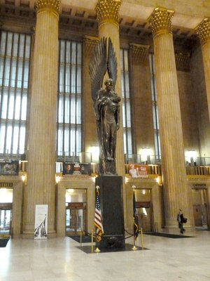 The 'Angel of the Resurrection' statue on the Pennsylvania Railroad World War II Memorial at Philadelphia's 30th Street Station