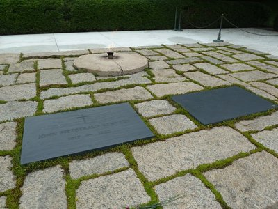 Close up of President John F. Kennedy's gravestone