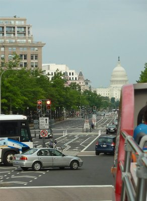 View from the bus on Pennsylvania Avenue - all roads lead to the Capitol
