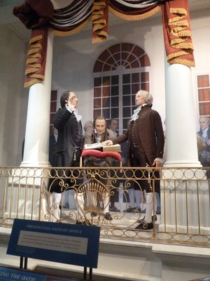 Model of George Washington (57 years old)  being sworn is as the first US President (1789)