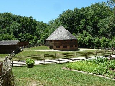 Washington's innovative 16 Sided Barn on the Pioneer Farm at Mount Vernon