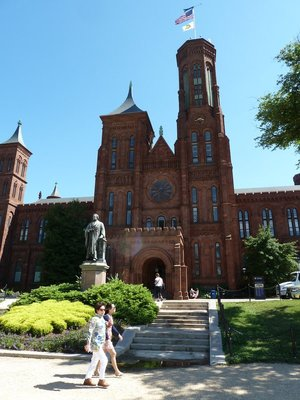 The Smithsonian Castle and Joseph Henry Statue on the National Mall