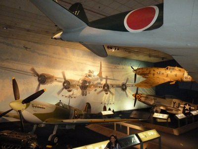 British Mk. VII Spitfire, Japanese A6M Zero, Italian Macchi C.202 Folgore and American P-51D Mustang in the WWII Aviation Gallery