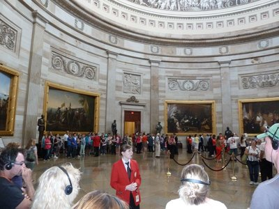Our guide explains the various pieces of artwork around the Rotunda underneath the Capitol's Dome