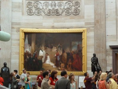 'Baptism of Pocahontas' - one of the 8 large oil paintings depicting events from US History around the bottom walls of the Rotunda