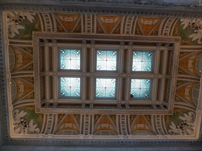 The stained-glass ceiling of the Library of Congress' Great Hall