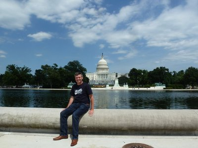 Me sat by the Reflecting Pool outside the US Capitol