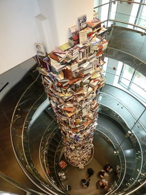 The tower of 15,000  books written on Abraham Lincoln in the Petersen House