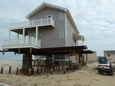 House on stilts following Hurricane Sandy