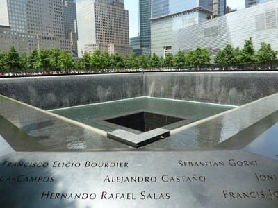 Looking north across the South Pool of the National September 11 Memorial