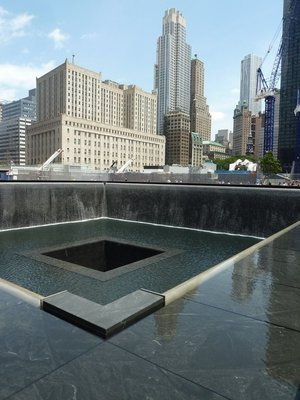 Looking north across the North Pool of the National September 11 Memorial