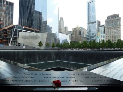 Looking back across the National September 11 Memorial from its north west corner