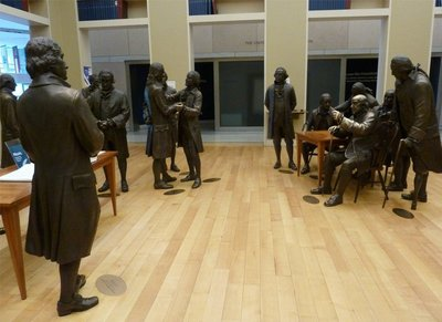 The Signers' Hall inside the National Constitution Center