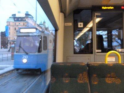 Passing Stockholm tram.. from another Stockholm tram!