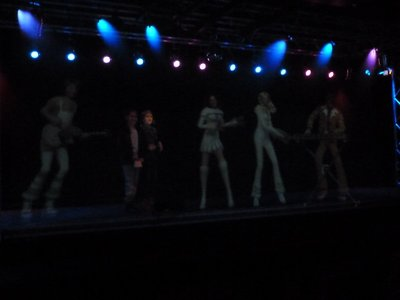There was lot of interactive karaoke activities during the ABBA Museum Tour - here are a couple performing on stage with full size avatars of the group!