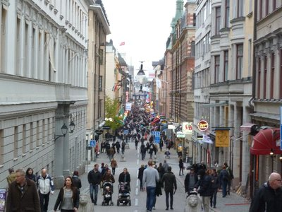 View south down Drottninggatten, one of Stockholm's main pedestrianised shopping streets
