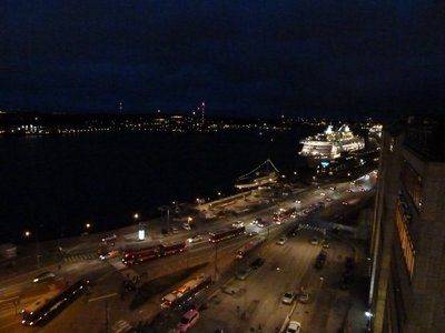 Evening view from the top of the Katarinahissen of a cruise ship berthed up at Stockholm