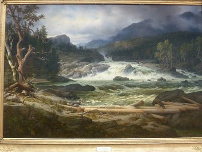 Thomas Fearnley's 'The Labro Falls of Kongsberg' on display in the Nasjonalgalleriet