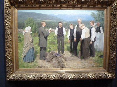 Erik Werenskiod's 'Peasant Burial' (1885) on display at the Nasjonalgalleriet