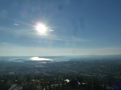 The spectacular view across Oslofjord from the top of the Holmenkollen Ski Jump