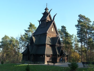The star of the show - the Stave Church built about 1200 and moved here from Gol
