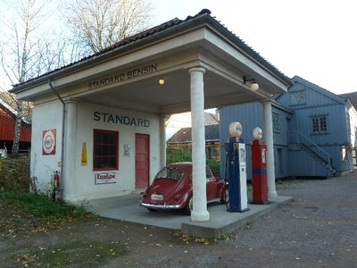 Reconstruction of a 1920s Norwegian Petrol Station (although the VW Beetle is from a bit later)