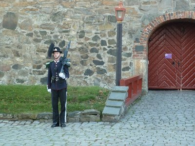 Member of the King's Guard on guard duty outside Akerhus Festning