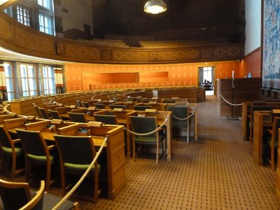 The City Council Chamber at the Radhuset (Oslo City Hall)