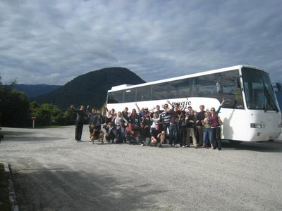 Our Magic Bus and crew outside the Haast Visitor Centre (I am kneeling at the front, 3rd from the left)